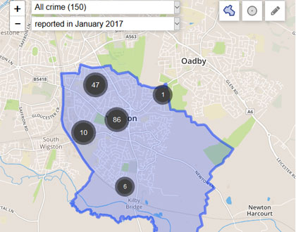 The crime statistics in Wigston