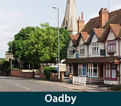 The area of Oadby in Leicestershire